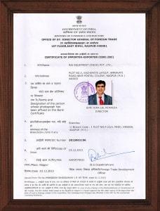Certificate of Importer Exporter Code