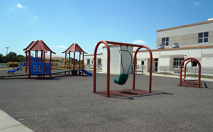The playground adjacent to the administration building for the Plainfield Community Consolidated School District 202.